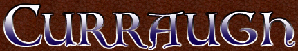 Curraugh Header in white and blue celtic letters on leather background